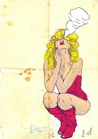 see weed: An hand drawn illustration of young blond woman in sexy lingerie  She smoking and provokes exhibition visitors  Stock Photo