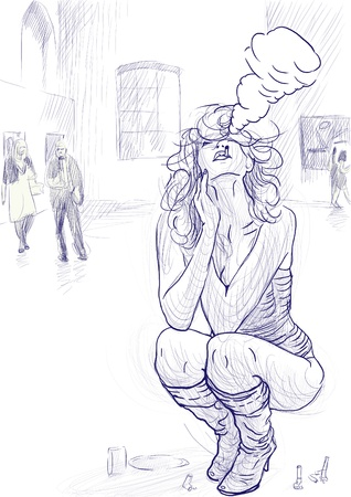 see weed: Smokers - An hand drawn illustration of young blond woman in sexy lingerie  She smoking and provokes exhibition visitors  Stock Photo