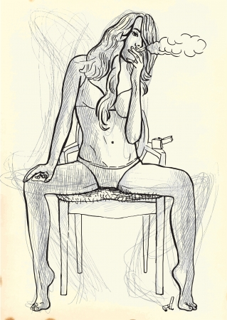 see weed: young woman smoking a cigarette on the chair Illustration