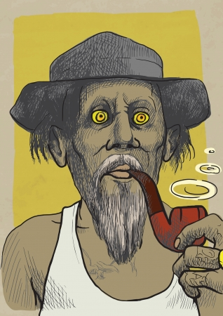 tough guy in a hat smoking a pipe Illustration