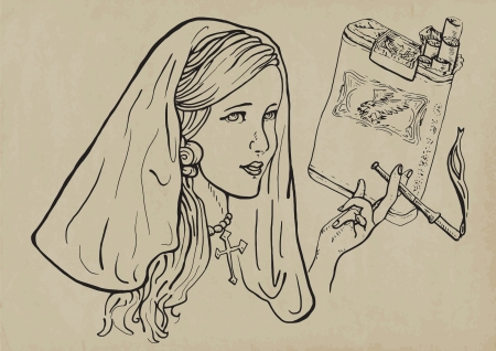 young girl, like a nun, elegantly smoking a cigarette Vector