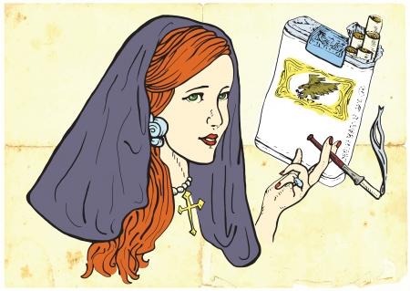 provoke: young girl, like a nun, elegantly smoking a cigarette