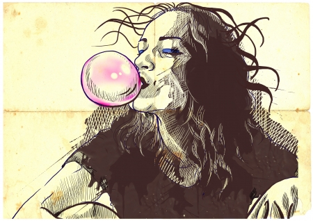 An hand drawn illustration of young woman blowing bubble from chewing gum  Stock Photo