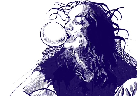 chewing: An hand drawn illustration of young woman blowing bubble from chewing gum  Stock Photo