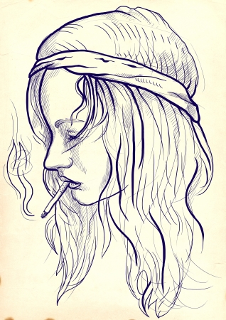 see weed: An hand drawn illustration of young woman, a little hippie-wearing, casually smoking a cigarette