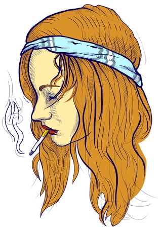 An hand drawn illustration of young woman, a little hippie-wearing, casually smoking a cigarette