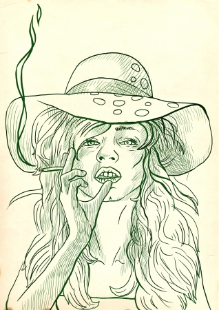 see weed: An hand drawn illustration of young woman in big summer hat elegantly smoking a cigarette