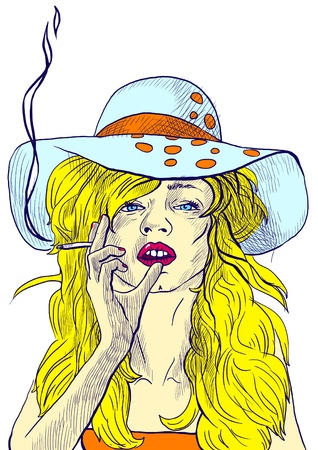 vice: An hand drawn illustration of young woman in big summer hat elegantly smoking a cigarette