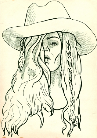 comix: An hand drawn illustration of young woman in big  cowboy  hat