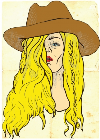 provocative: An hand drawn illustration of young woman in big  cowboy  hat