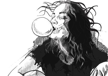 boredom: bubble gum Illustration
