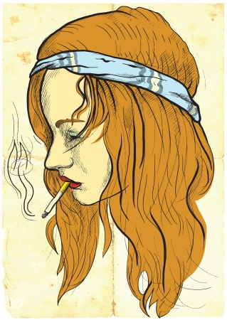 see weed: a little hippie-wearing, casually smoking a cigarette Illustration
