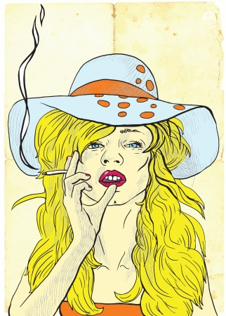 see weed: An hand drawing into vector - young woman in big summer hat elegantly smoking