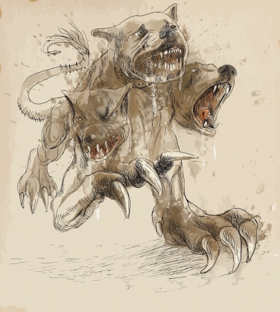 homer: An hand-drawn illustrations in ancient Greek myths and legends  CERBERUS Illustration