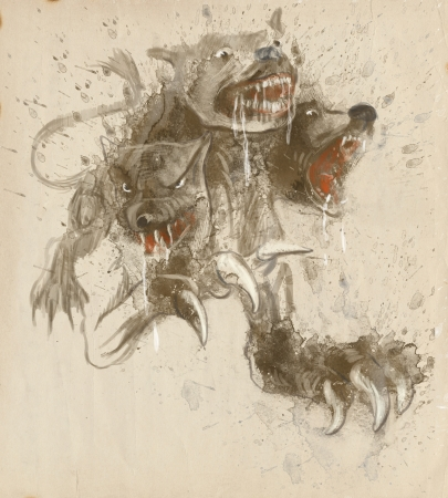 homer: An hand-drawn illustrations in ancient Greek myths and legends  CERBERUS Stock Photo