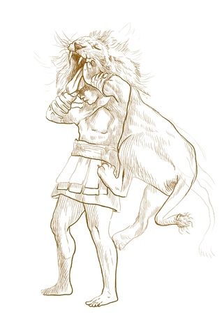 Hercules and the Nemean Lion - An hand drawn illustration