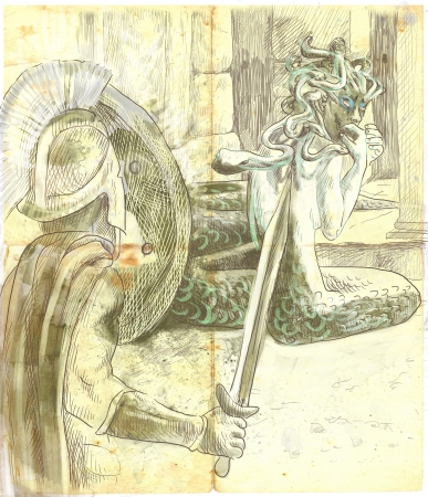 An hand-drawn illustrations in ancient Greek myths and legends  PERSEUS and MEDUSA  illustration