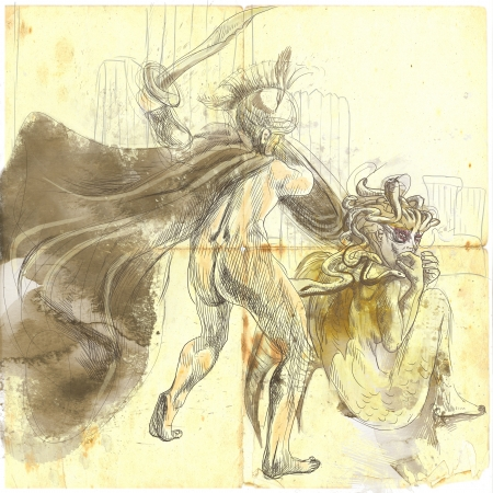 An hand-drawn illustrations in ancient Greek myths and legends  PERSEUS and MEDUSA