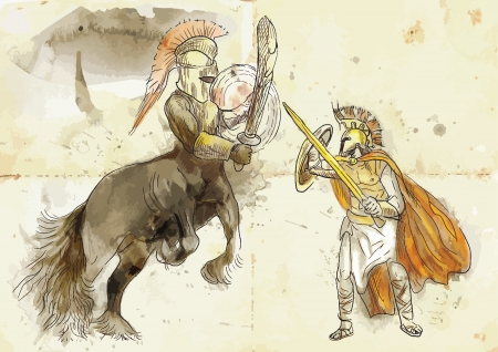 heroism: An hand-drawn illustration in ancient Greek myths and legends  THESEUS and CENTAUR Illustration