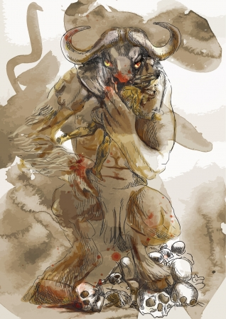 homer: An hand-drawn illustration  converted into 4 layers vector  in ancient Greek myths and legends  MINOTAUR and THESEUS