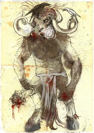 An hand-drawn illustration in ancient Greek myths and legends  MINOTAUR Stock Illustration - 18999200