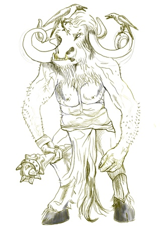 legends: An hand-drawn illustration in ancient Greek myths and legends  MINOTAUR Stock Photo