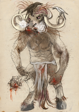 An hand-drawn illustration in ancient Greek myths and legends  MINOTAUR Stock Photo