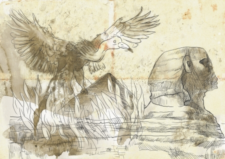 An hand-drawn illustration in ancient Greek myths and legends  PHOENIX  Benu  illustration