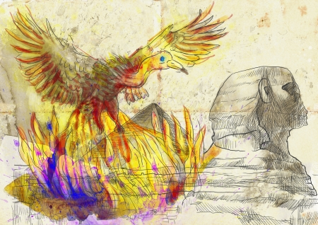 ancient bird: An hand-drawn illustration in ancient Greek myths and legends  PHOENIX  Benu  Stock Photo
