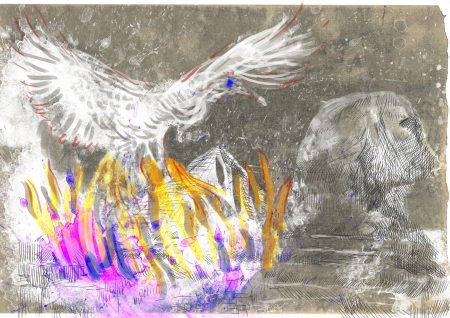 regenerated: An hand-drawn illustration in ancient Greek myths and legends  PHOENIX  Benu  Stock Photo