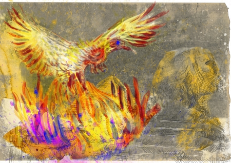 phenix: An hand-drawn illustration in ancient Greek myths and legends  PHOENIX  Benu  Stock Photo