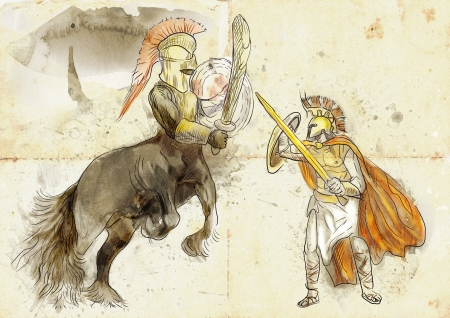 An hand-drawn illustration in ancient Greek myths and legends  THESEUS and CENTAUR  illustration