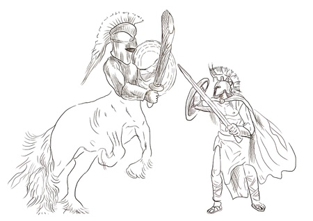 centaur: An hand-drawn illustration in ancient Greek myths and legends  THESEUS and CENTAUR