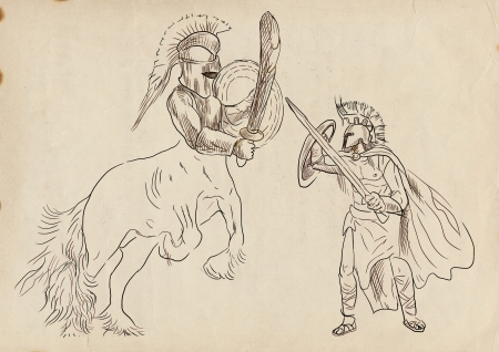 heroism: An hand-drawn illustration in ancient Greek myths and legends  THESEUS and CENTAUR