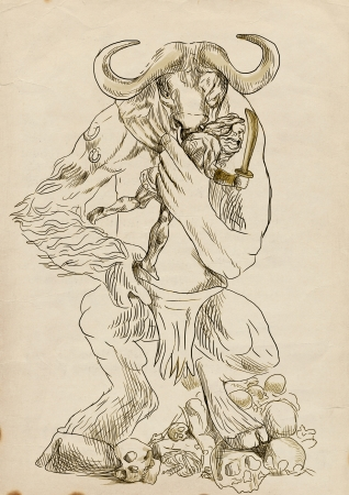 An hand-drawn illustration in ancient Greek myths and legends  MINOTAUR and THESEUS Stock Illustration - 18968962