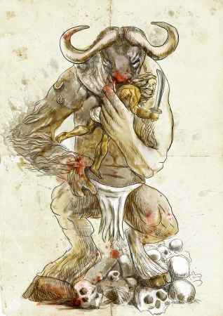 obscure: An hand-drawn illustration in ancient Greek myths and legends  MINOTAUR and THESEUS