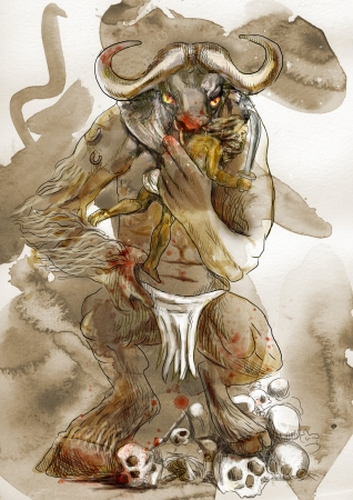 slaying: An hand-drawn illustration in ancient Greek myths and legends  MINOTAUR and THESEUS