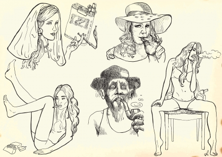 smokers: smokers set, hand drawings into vector