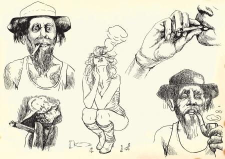 smokers set, hand drawings into vector