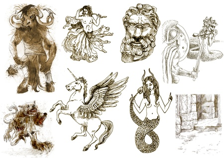 archaically: A large series of mystical creatures isolated on white - According to ancient Greek myths