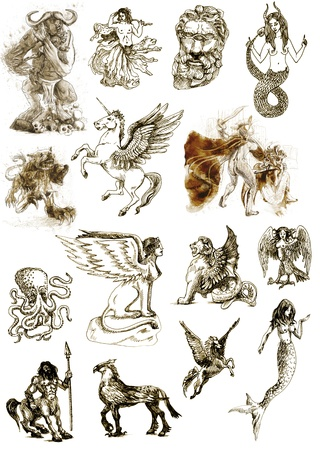 ancient greek: A large series of mystical creatures isolated on white - According to ancient Greek myths