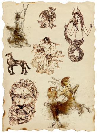 according: A large series of mystical creatures on an old sheet of paper - According to ancient Greek myths