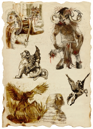 roman mythology: A large series of mystical creatures on an old sheet of paper - According to ancient Greek myths