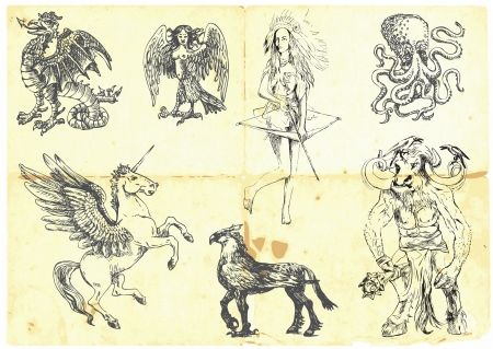 Collection of mythical characters known from the ancient Greek myths  Illustration