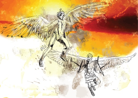 Icarus and Daedalus - Hand drawing into vector Stock Vector - 19155807