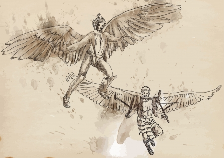 icarus:  Icarus and Daedalus - Hand drawing into vector Illustration