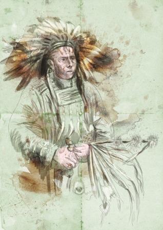 capo indiano: Capo indiano in possesso di un tubo di pace
