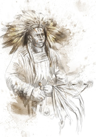 Indian chief holding a peace pipe  photo