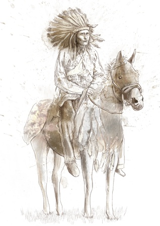 Indian chief sitting on a horse   photo