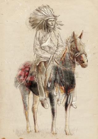 capo indiano: Capo indiano seduto su un cavallo Archivio Fotografico